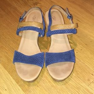 UGG blue and tan snake low wedges size 9